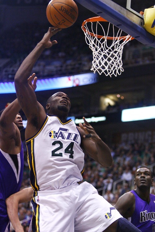 Djamila Grossman  |  The Salt Lake Tribune  The Utah Jazz' Paul Millsap (24) scores in a game against the Sacramento Kings at Energy Solutions Arena in Salt Lake City, Utah, on Saturday, March 5, 2011. The Jazz won the game.