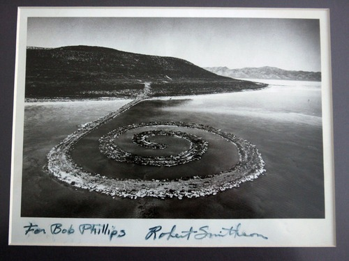 Steve Griffin  |  The Salt Lake Tribune   Artist Robert Smithson gave Bob Phillips this signed photograph of the Spiral Jetty.  Phillips was the contractor who built the Spiral Jetty for Smithson.