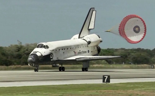 Space shuttle Discovery lands Wednesday at Kennedy Space Center in Florida. (NASA TV)