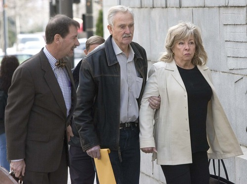 Paul Fraughton  |  The Salt Lake Tribune Vern Crites, center, walks into federal court with his wife, Marie, and lawyer, Wally Bugden, on Wednesday. Crites pleaded guilty to three felonies in a federal sting operation against traffickers of illegal Four Corners antiquities. A plea deal could result in probation when he is sentenced in August.