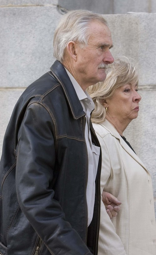 Paul Fraughton  |  The Salt Lake Tribune Vern and Marie Crites walk into federal court in Salt Lake City on Wednesday. Vern Crites pleaded guilty to three felonies in a federal sting operation against traffickers of illegal Four Corner antiquities. Marie Crites pleaded guilty to one count involving the purchase of ancient sandals.