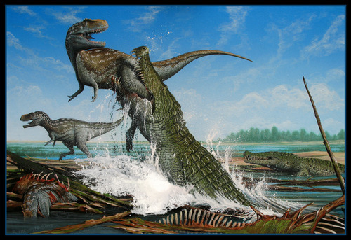Rendering by Bob Nicholls Deinosuchus was discovered i, Grand Staircase-Escalante National Monument. A replica of the creature's skull will tour the state, including a stop at the Utah Museum of Natural History in Salt Lake City in November.