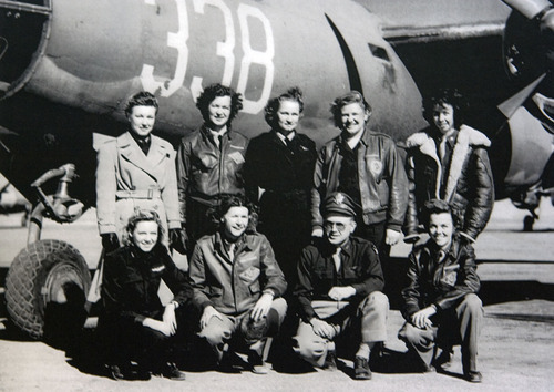 Members of the 6th Tow Target Squadron, Biggs Field, El Paso, Texas.  1944. Nell Bright at far right, first row.   Photo courtesty of Nell Stevenson Bright