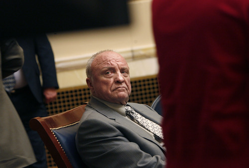 SCOTT SOMMERDORF  |  The Salt Lake Tribune Sen. Chris Buttars, R-West Jordan, announced his retirement as the Legislature ended its annual session. Here he is pictured watching the vote tally Thursday on the school funding bill.