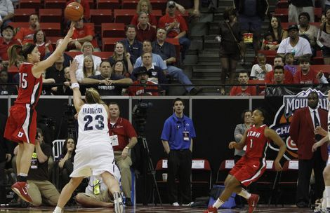 Rick Egan  | Salt Lake Tribune  Michelle Plouffe (15) sinks a jump shot at the buzzer to give the Utes a 50-49 win over the first-seed BYU Cougars at the Mountain West Conference Championships in Las Vegas, Friday, March 11, 2011.