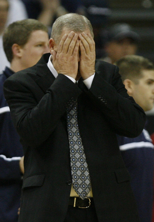 Rick Egan   |  The Salt Lake Tribune  BYU coach Dave Rose reacts as things continute to go the way of the Aztecs, in the Mountain West Championship game, BYU vs. San Diego State, in Las Vegas, Saturday, March 12, 2011