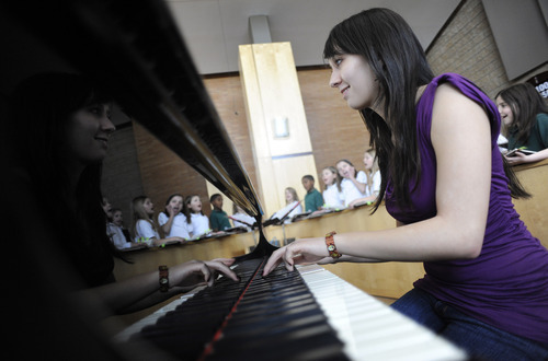 Sarah A. Miller  |  The Salt Lake Tribune  Vanessa Wall, a Bingham High senior, plays piano after school for the St. John the Baptist Catholic Church children's choir in Draper. Wall, like many teenagers, is involved in many activities and often stays up late to study. She wishes school started later so she could have more time to sleep.  Thursday afternoon March 10, 2011.