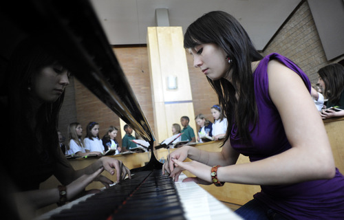 Sarah A. Miller  |  The Salt Lake Tribune  Vanessa Wall, a Bingham High senior, plays piano after school for the St. John the Baptist Catholic Church children's choir in Draper. Wall, like many teenagers, is involved in many activities and often stays up late to study. She wishes school started later so she could have more time to sleep. 3/10/11.