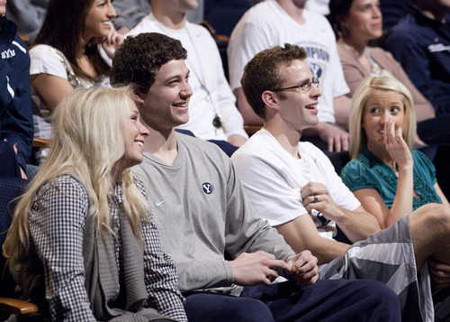 Jimmer Fredette and Jackson Emery react to the BYU Basketball team receiving a #3 seed in the NCAA Tournament Selection Show. They will play the Wofford Terriers on Thursday in Denver, Colorado. March 13. (Jaren Wilkey/BYU)