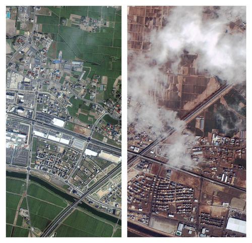 This combination of photos provided by GeoEye shows adjacent sections of Natori, Japan on April 3, 2010, left, and March 12, 2011, right, after an 8.9-magnitude earthquake triggered a devastating tsunami in the region. (AP Photo/GeoEye)