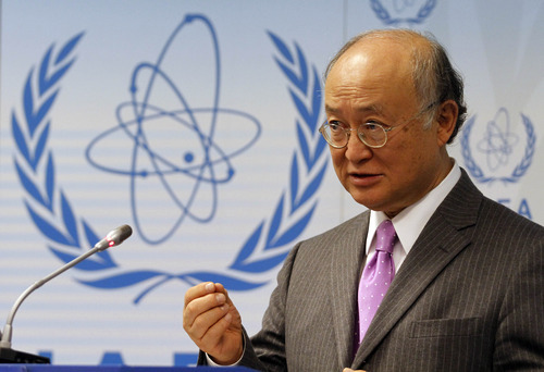 Director General of the International Atomic Energy Agency, IAEA, Yukiya Amano from Japan speaks during a news conference about the nuclear emergency triggered by the devastating earthquake and tsunami in Japan at the International Center, in Vienna, Austria, on Wednesday, March 16, 2011. (AP Photo/Ronald Zak)