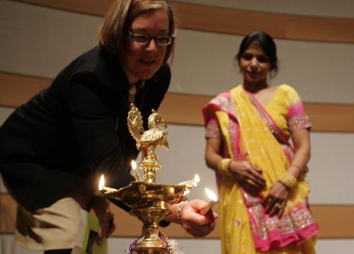 The Salt Lake Tribune file photo  Salt Lake City Library director Beth Elder, left, and Rita Bhatnagar, an organizer of the DIwali Festival light a lamp during the seventh annual Diwali Festival Saturday, November 1, 2008 at the Salt Lake City Main Library.