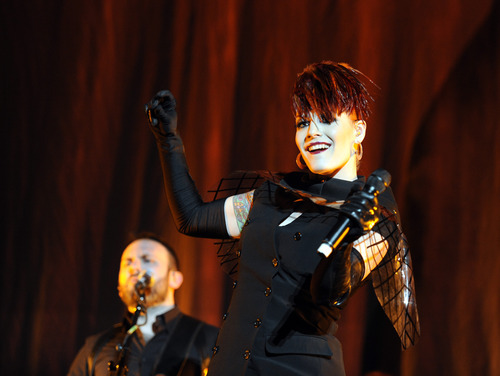 Sarah A. Miller     The Salt Lake Tribune The Scissor Sisters open for Lady Gaga at EnergySolutions Arena on Saturday.