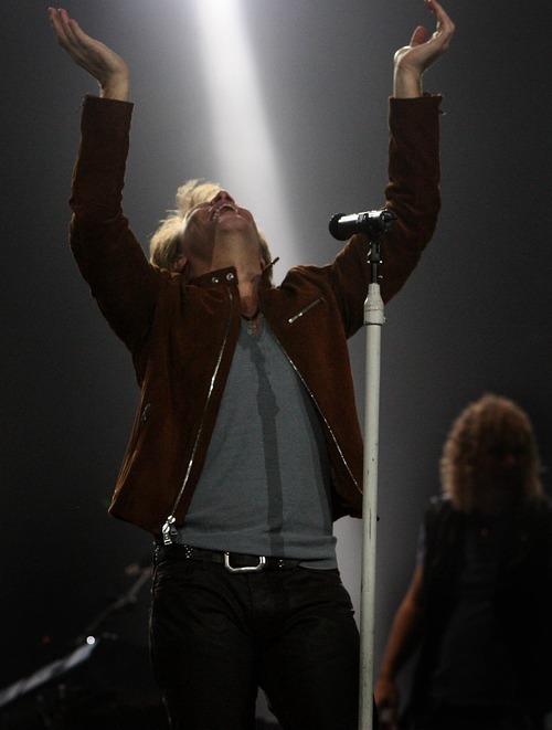 Leah Hogsten     The Salt Lake Tribune Jon Bon Jovi of Bon Jovi rocked a packed EnergySolutions Arena in Salt Lake City on Tuesday, March 22, 2011.