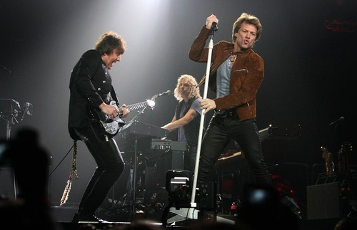 Leah Hogsten  |  The Salt Lake Tribune Jon Bon Jovi on lead vocals and guitarist Richie Sambora (left) play to a packed EnergySolutions Arena in Salt Lake City on Tuesday, March 22, 2011.