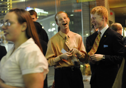 Sarah A. Miller  |  The Salt Lake Tribune  Nick Long, 17, and Alex Beck, 16, laugh after they realize they wore the same tie to the Utah Symphony concert at Abravanel Hall in Salt Lake City in  February. The students are members of the new West High School Symphony Club.
