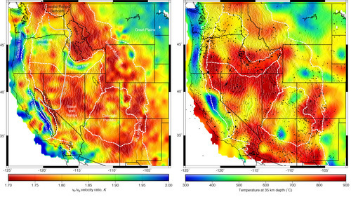 Geophysical measurements collected in the western United States reveal correlations between high concentrations of quartz and high temperatures deep in the Earth's crust. USU geophysicist Tony Lowry says quartz is key to rock cycles resulting in large-scale deformation of continents. Image courtesy Tony Lowry, Utah State University.