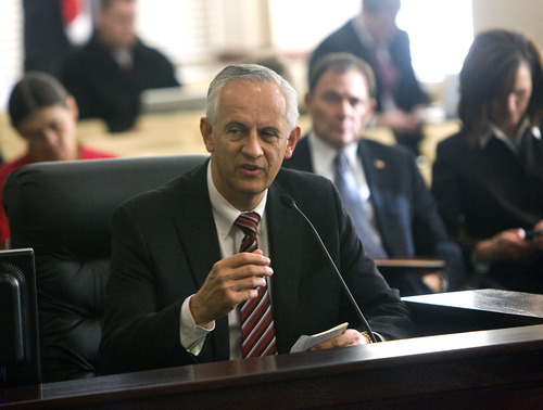 File photo   |  The Salt Lake Tribune President of the Utah Senate Michael Waddoups addresses members of the GRAMA working group. Waddoups, R-Taylorsville, has opposed Friday's special session but says the ultimate outcome of the debate over open records will be an improved state law.