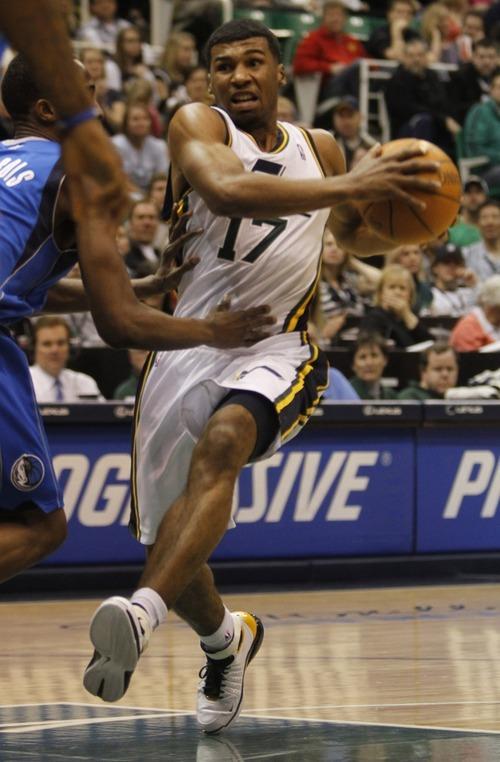 Rick Egan      The Salt Lake Tribune  Utah Jazz guard Ronnie Price (17)  takes the ball do the hoop, as Dallas Mavericks guard Rodrigue Beaubois (3) defends, in NBA action Utah vs. Dallas, in Salt Lake City, Saturday, March 26, 2011.