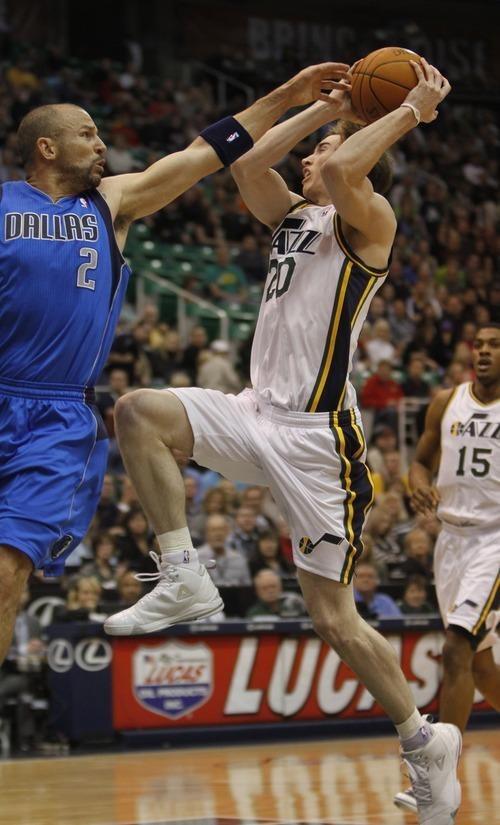 Rick Egan   |  The Salt Lake Tribune  Dallas Mavericks shooting guard Dominique Jones (20) guards Utah Jazz forward Gordon Hayward (20) in NBA action Utah vs. Dallas, in Salt Lake City, Saturday, March 26, 2011.
