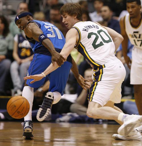 Rick Egan   |  The Salt Lake Tribune   Utah Jazz forward Gordon Hayward (20) is called for a foul, as he steals the ball from Dallas Mavericks guard Jason Terry (31)in NBA action Utah vs. Dallas, in Salt Lake City, Saturday, March 26, 2011.