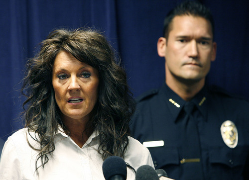 Scott Sommerdorf  |  The Salt Lake Tribune Heidi Miller speaks about her mother Sherry Black during a joint news conference with South Salt Lake police and the Friends of Sherry Black organization to announce a $50,000 reward leading to the arrest and successful prosecution of the murderer in the Sherry Black homicide investigation, Monday, March 28, 2011.