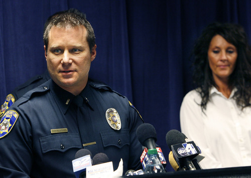 Scott Sommerdorf  |  The Salt Lake Tribune South Salt Lake police lead investigator Dwayne Ruth speaks at a joint news conference with the Friends of Sherry Black organization to announce announce a $50,000 reward leading to the arrest and successful prosecution of the murderer in the Sherry Black homicide investigation, Monday, March 28, 2011. The victim's daughter, Heidi Miller, is at right.
