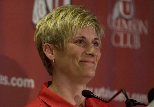 Jim Urquhart  |  The Salt Lake Tribune University of Utah women's basketball coach Elaine Elliott  fights back tears and emotion during a press conference Wednesday, March 31, 2010 at Huntsman Center on the campus of the University of Utah in Salt Lake City. University of Utah women's basketball coach Elaine Elliott announced she will take a one year leave of absence while she considers retirement. 3/31/10