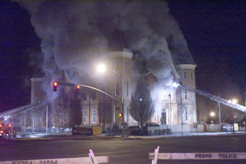 Donald W. Meyers  |  The Salt Lake Tribune  The historic Provo Tabernacle burns in the early morning hours of Dec. 17, 2010.