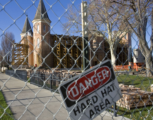 Al Hartmann   |  The Salt Lake Tribune  A fence blocks the Provo Taberbnacle as stabilization and cleanup work continue on the historic structure on March 31, 2011. A lighting rig and human error are being blamed for the fire that devastated the Tabernacle more than three months ago.