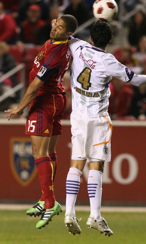 Leah Hogsten  |  The Salt Lake Tribune Real Salt Lake's Alvaro Saborio takes a header with Sparissa's Jose Mena.  Real Salt Lake  played the first  its two-game series against Saprissa of Costa Rica in the CONCACAF Champions League at Rio Tinto Stadium  Tuesday March 15, 2011.