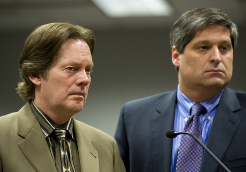 Pool Keith Brown, left, stands Thursday with attorney Steven Shapiro as  Fourth District Judge David Mortensen delivers Brown's sentence at the Fourth District Courthouse in Provo.  Brown, father of the famous musicians the 5 Browns, was sentenced to 10 years to life in prison fo abusing his three daughters when they were children.