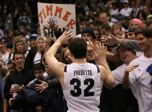 Leah Hogsten  |  The Salt Lake Tribune  Jimmer Fredette thanks fans for their support after defeating UNLV in Provo on Feb. 5.