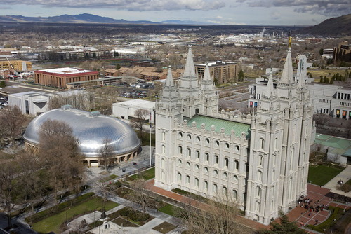 Al Hartmann   |  The Salt Lake Tribune  Temple Square with Tabernacle, and Salt Lake Temple seen from high angle above South Temple and West Temple streets on March 22, 2011.