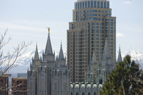Trent Nelson  |  The Salt Lake Tribune The Salt Lake LDS temple shares the skyline with the newly constructed Promontory Residential Tower, which is part of the new City Creek development in Salt Lake City.