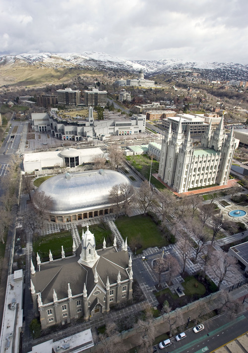 Al Hartmann   |  The Salt Lake Tribune  Temple Square with Old Meeting House, Tabernacle,  Salt Lake Temple, and LDS Conference Center, seen from high angle above South Temple and West Temple on March 22, 2011.