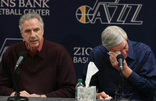 Leah Hogsten  |  The Salt Lake Tribune Phil Johnson, left, and Jerry Sloan show their emotions during their resignation speeches Thursday.