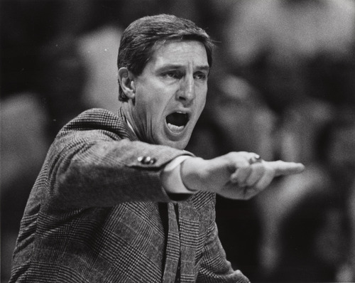 Steve Griffin  |  The Salt Lake Tribune  Jerry Sloan yells support form the bench in his first quarter as head coach of the Utah Jazz in 1988.