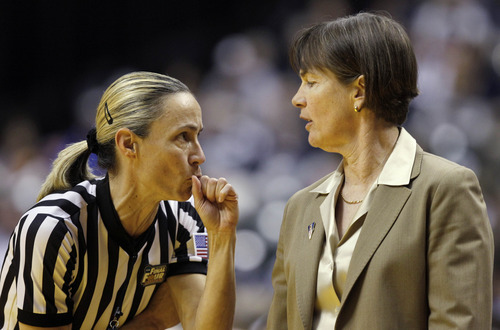 Stanford head coach Tara VanDerveer has words with referee Lisa Mattingly in the first half of a women's NCAA Final Four semifinal college basketball game against Texas A&M in Indianapolis, Sunday, April 3, 2011. (AP Photo/Mark Duncan)