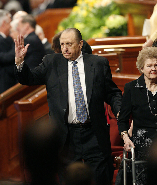 Scott Sommerdorf  |  The Salt Lake Tribune LDS President Thomas S. Monson waves to the attendees as he leaves the morning session of the 181st Annual LDS General Conference, Saturday, April 2nd, 2011.