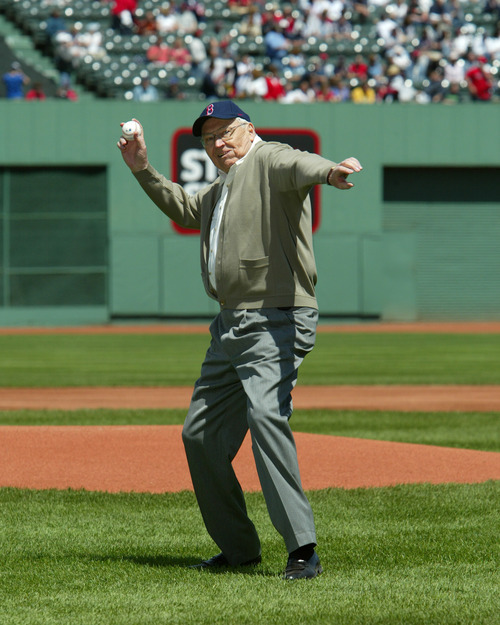 L. Tom Perry, an LDS apostle, throws the ceremonial pitch during Mormon Night at a Red Sox game in 2004. He was 82 and the pitch was considered