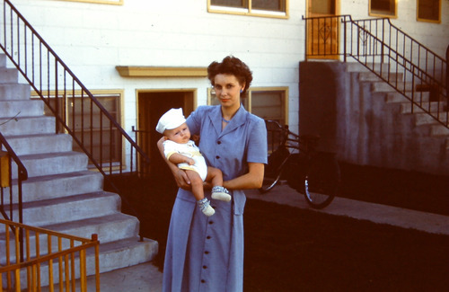 L. Tom Perry's first wife, Virginia Perry, holding their son, Lee Perry, 1951 in Boise, Idaho. Virginia died in 1974. Courtesy of the family.