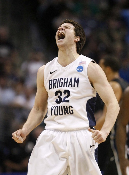 Trent Nelson  |  The Salt Lake Tribune BYU's Jimmer Fredette celebrates as BYU defeats Gonzaga in the NCAA Tournament, men's college basketball at the Pepsi Center in Denver, Colorado, Saturday, March 19, 2011, earning a trip to the Sweet 16.