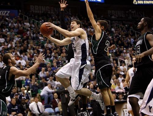 Trent Nelson  |  The Salt Lake Tribune  Jimmer Fredette drives to the basket against Hawaii on Dec. 4.