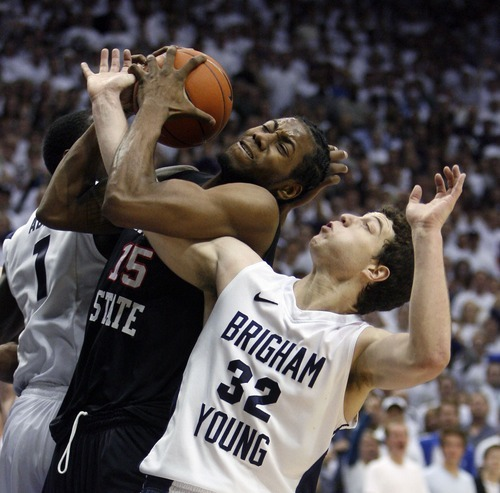 Steve Griffin  |  The Salt Lake Tribune   Jimmer Fredette battles San Diego State's Kawhi Leonard for the ball during the second half of BYU's game against MWC nemesis San Diego State in the first of two meetings this season on Jan. 26.