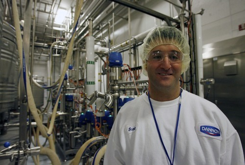 Steve Griffin  |  The Salt Lake Tribune  Scott Corsetti is the plant manager at the Dannon yogurt plant in West Jordan. The plant operates around the clock producing several kinds of yogurt.