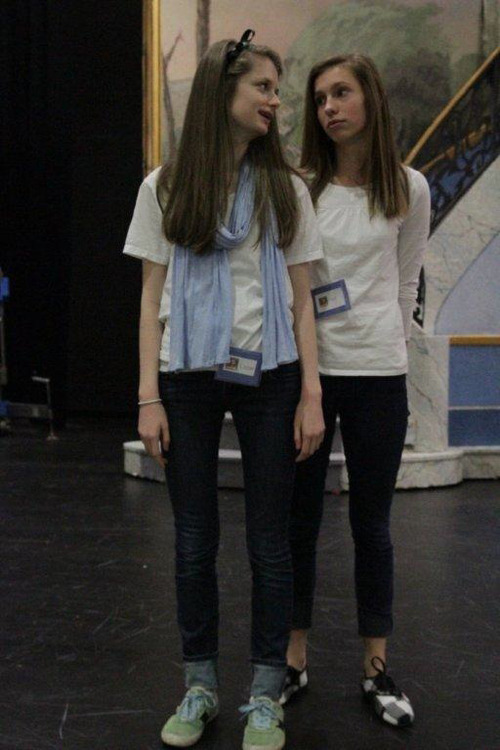 Liz Card (front) and Nell Stevens as Liesl in Clayton Middle School's production of