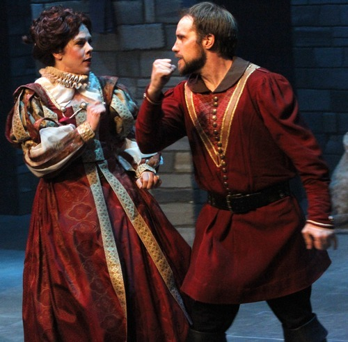 Rick Egan      The Salt Lake Tribune Elizabeth Summerhays plays Lady Macbeth with John Terry as Macbeth during a rehearsal of Babcock Theatre's student production of Shakespeare's tragedy, running April 8-17.