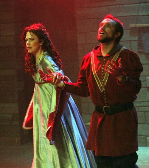 Rick Egan      The Salt Lake Tribune Elizabeth Summerhays plays Lady Macbeth with John Terry as Macbeth during a rehearsal of Babcock Theatre's production of Shakespeare's tragedy.