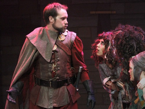 Rick Egan      The Salt Lake Tribune John Terry stars as Macbeth during a rehearsal of the University of Utah's student production of Shakespeare's tragedy at the Babcock Theatre.